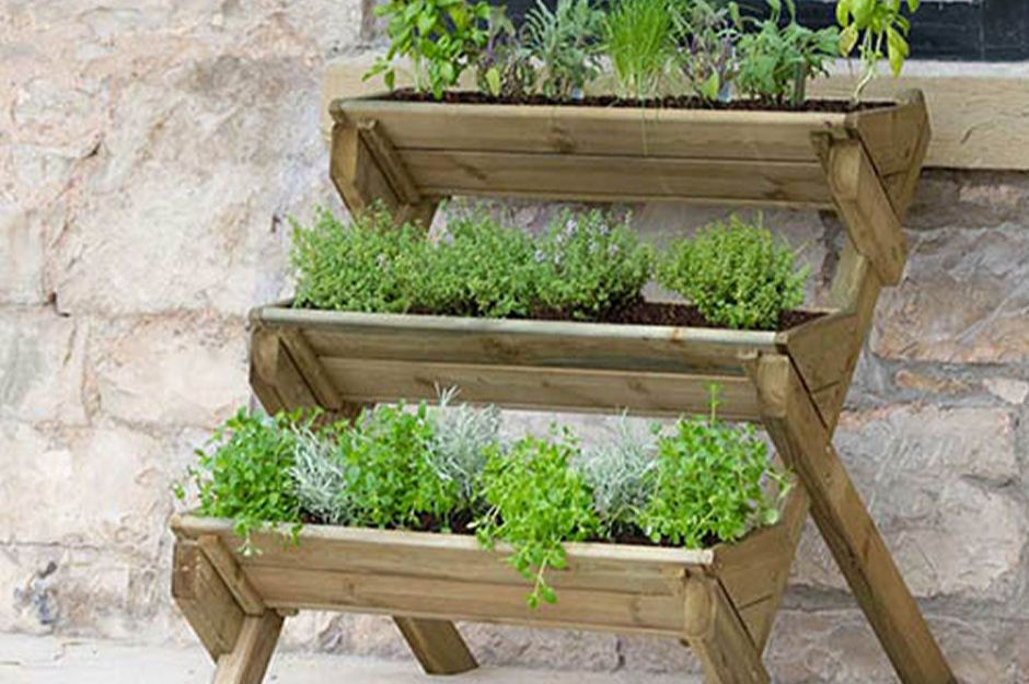 Stepped Wooden Herb Planter