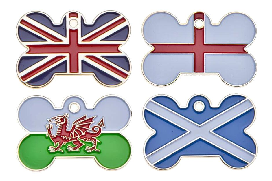 Large Country Flag Bone ID Tag