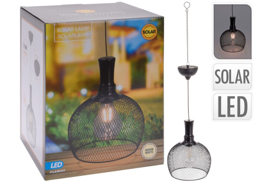 Solar Powered Metal Glass Hanging Light